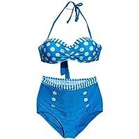 Nunubee ブルー ポリエステル 女子 水着 女の子 女の人 ビキニ  セクシー水着 海辺 ビーチ  M