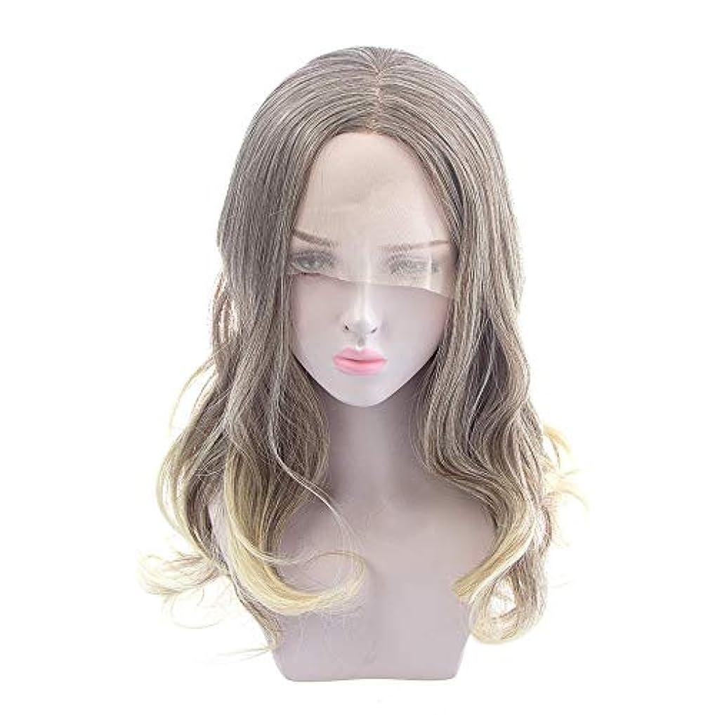 計器目を覚ますブラウンZXF ヨーロッパとアメリカの女性の長い巻き毛のかつら、化学繊維のフロントレースのかつら、半手織り難燃性高温ワイヤー 美しい