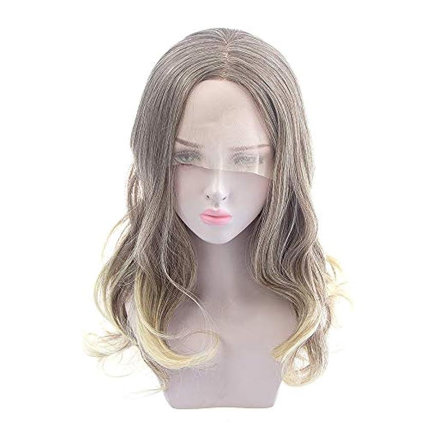 アトムマート誰ZXF ヨーロッパとアメリカの女性の長い巻き毛のかつら、化学繊維のフロントレースのかつら、半手織り難燃性高温ワイヤー 美しい