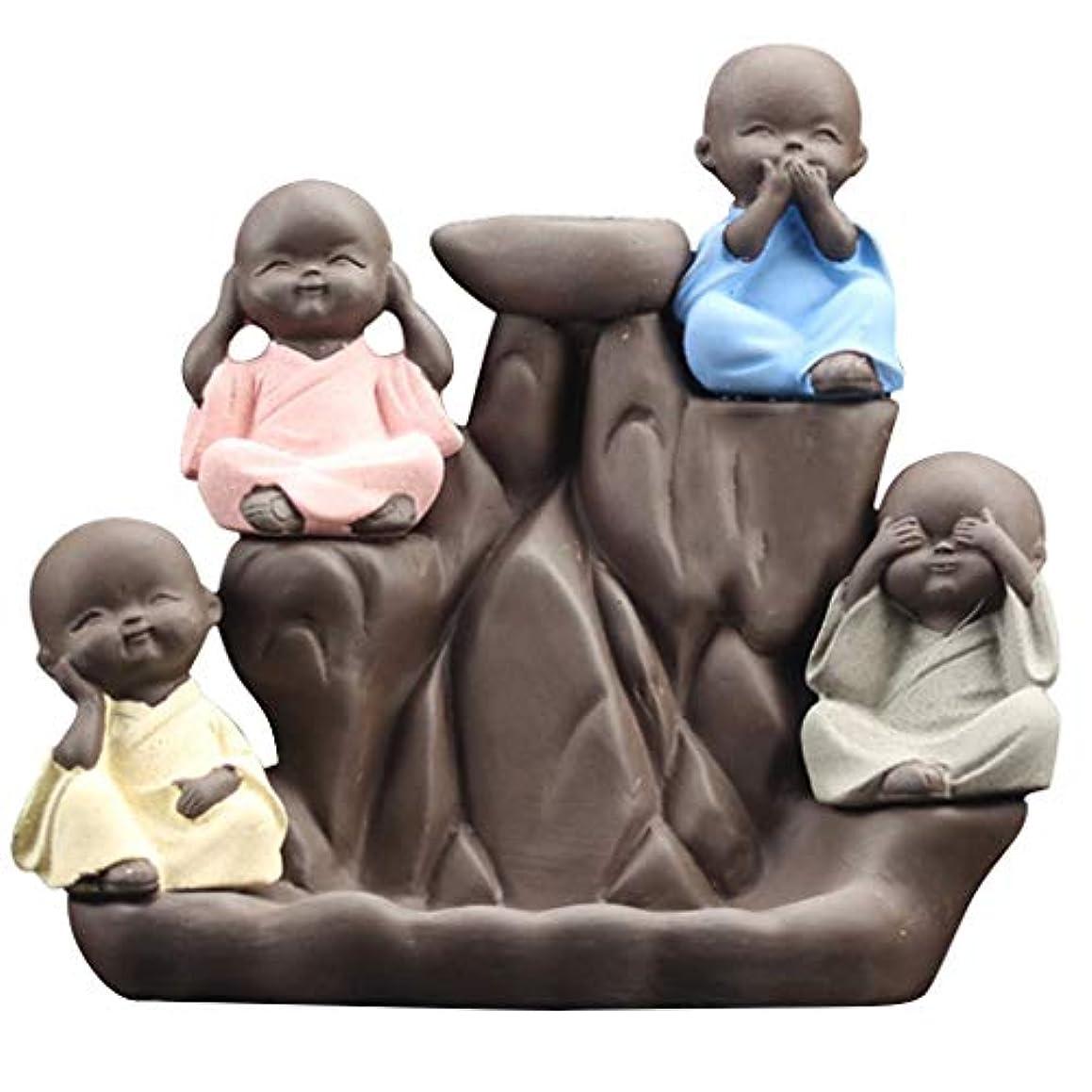 ソフトウェア望ましい椅子芳香器?アロマバーナー かわいい小さな僧侶逆流香炉家の装飾クリエイティブセラミックコーン滝香ホルダー仏教香炉 アロマバーナー芳香器 (Color : Multi-colored)