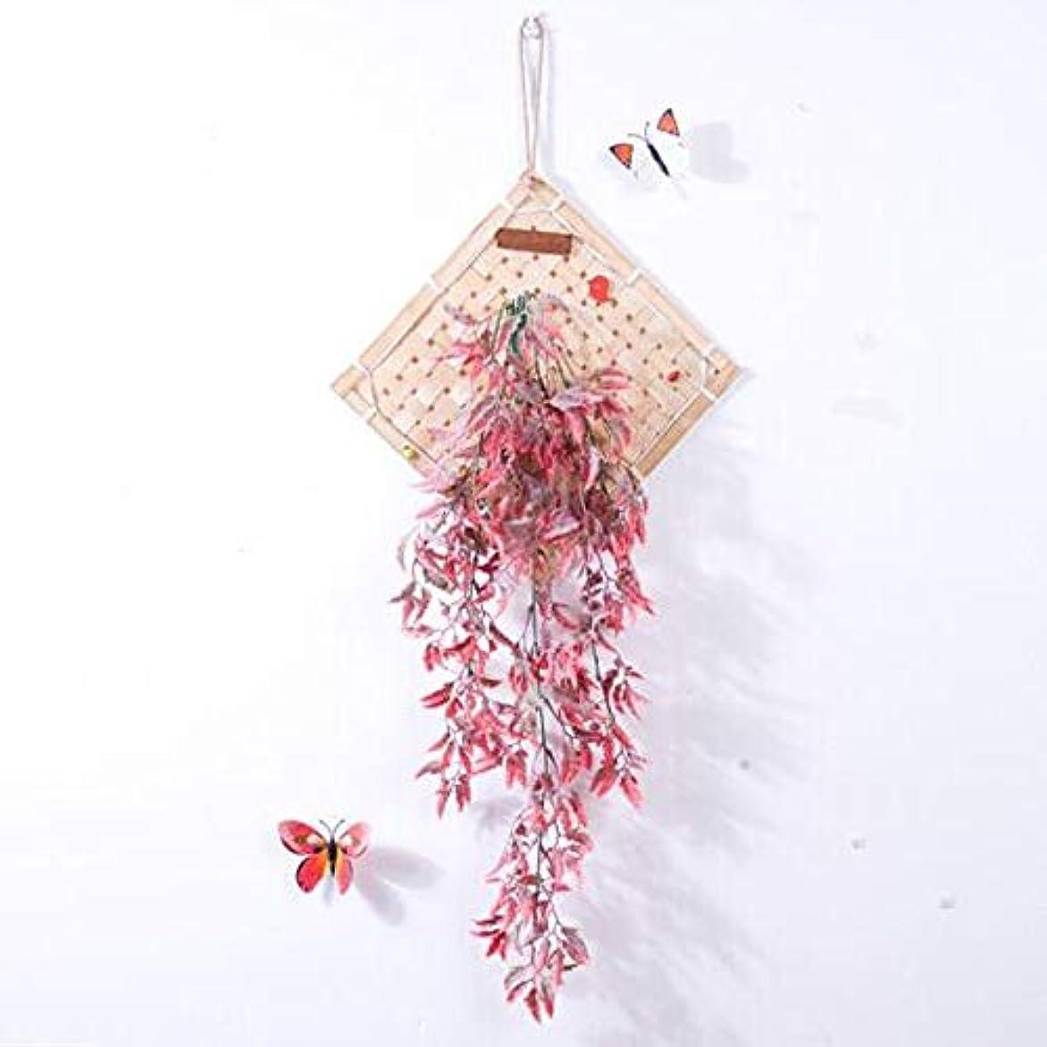 発疹皮麺Aishanghuayi 風チャイム、クリエイティブ?竹ホームデコレーション風チャイム、パープル、幅38.5CM,ファッションオーナメント (Color : Pink)