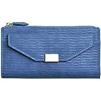 財布 シンプルな性格の多機能ポケットマネーポケット長財布長財布 レジャー財布 ( Color : Blue )