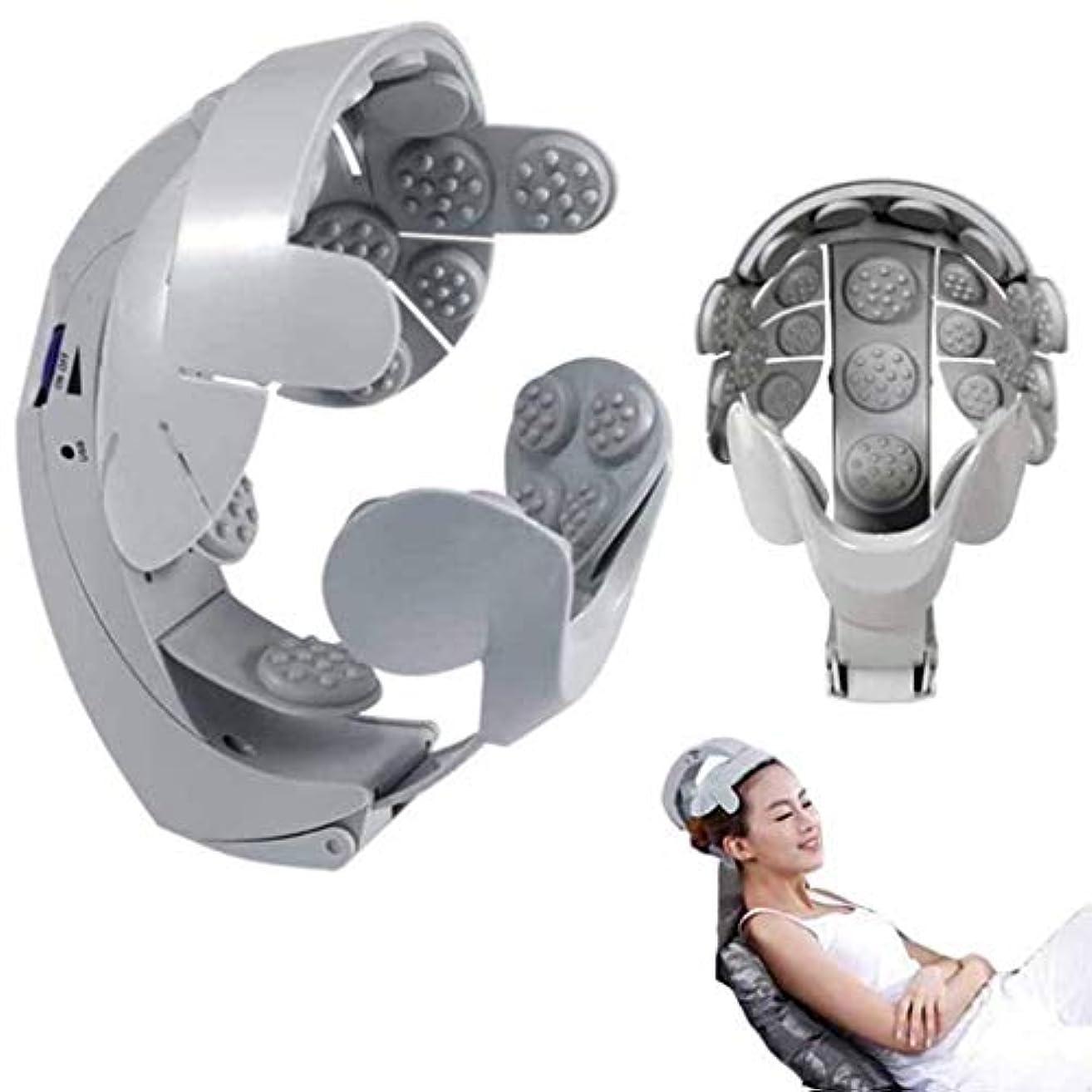 ドットサッカーコンプライアンス電気ヘッドマッサージャー、8調整可能なヘルメット頭皮鍼治療のポイント、ユーザーフレンドリーなデザイン、脳マッサージは簡単です