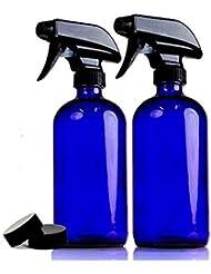 2本セット 遮光瓶 コバルトブルー ガラス スプレー ボトル 470ml 青ボトル [並行輸入品]