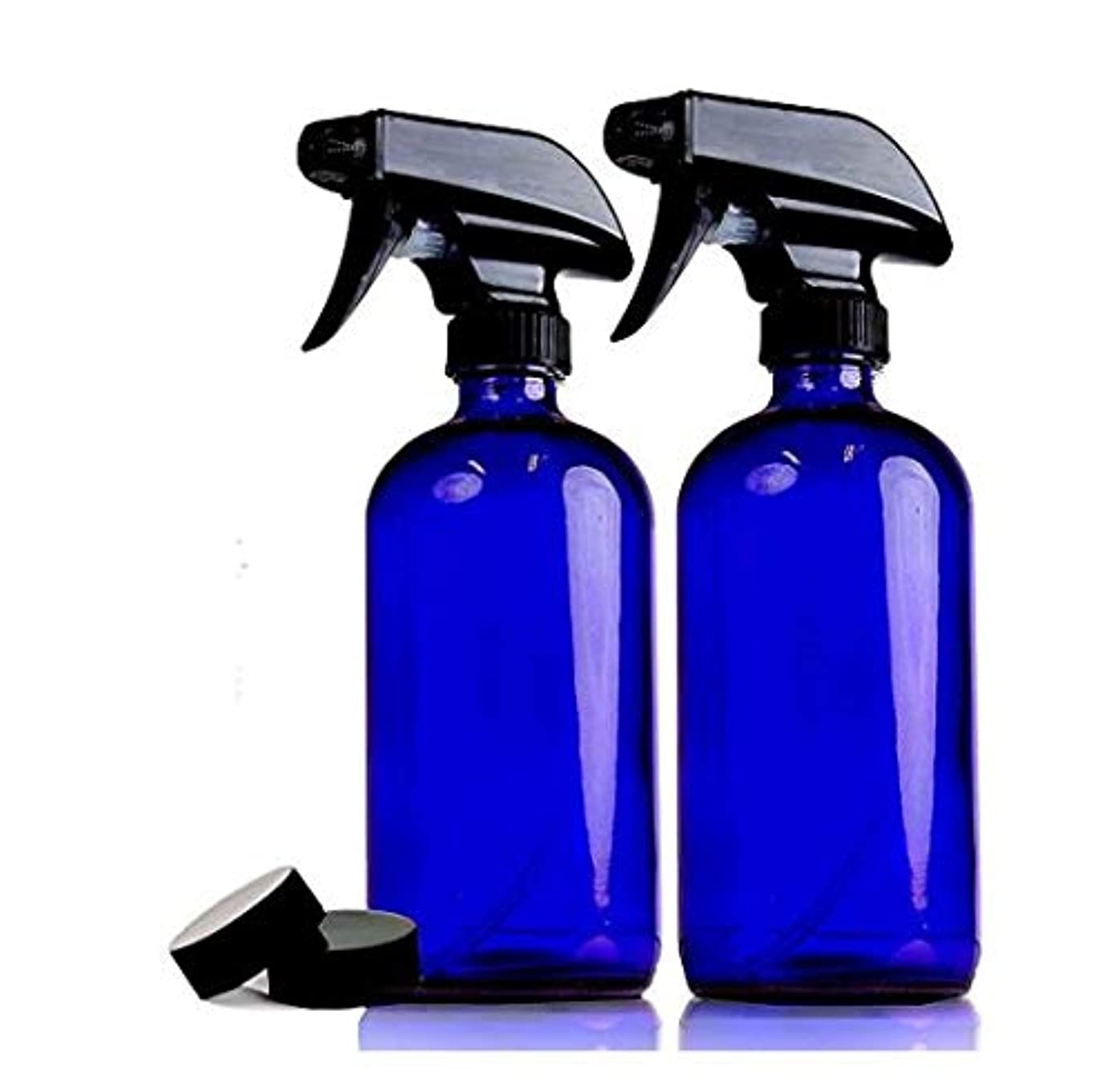 反毒はがきあいまいな2本セット 遮光瓶 コバルトブルー ガラス スプレー ボトル 470ml 青ボトル [並行輸入品]