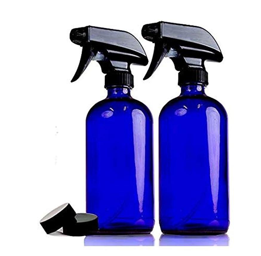 理想的赤面想像する2本セット 遮光瓶 コバルトブルー ガラス スプレー ボトル 470ml 青ボトル [並行輸入品]