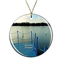 Weekinoポーランドマルタ湖ポズナンクリスマスデコレーションオーナメントクリスマスツリーペンダントデコレーションシティトラベルお土産コレクション磁器2.85インチ