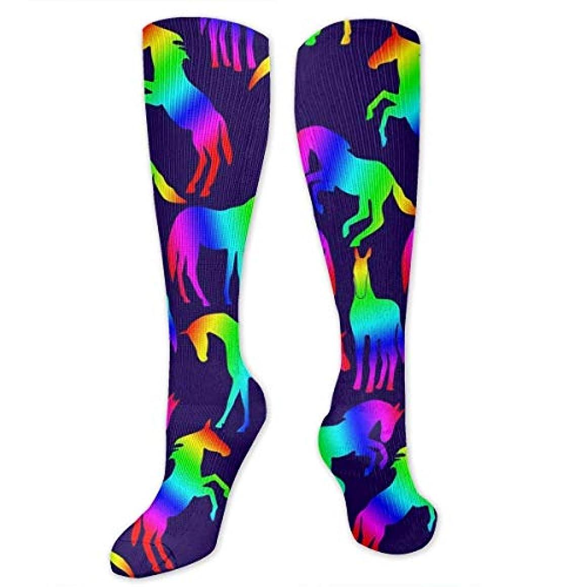 移民路地絶えず靴下,ストッキング,野生のジョーカー,実際,秋の本質,冬必須,サマーウェア&RBXAA Rainbow Horses Socks Women's Winter Cotton Long Tube Socks Knee High...