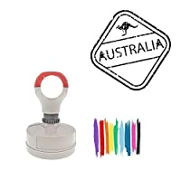 Australia Kangaroo Square Badge Style Pre-Inked Stamp, Green Ink Included