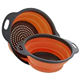 Foldable Silicone Drainer Fruit Vegetable Washing Basket Strainer Collapsible Colander With Handle Kitchen Tool #Z : Orange L