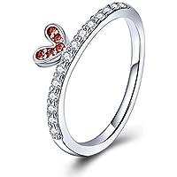 WOSTU S925 レディースリング レッドCZハート クラウンリング プリンセス風 細身指輪 クリアジルコニア お洒落 ガールズファッション日本サイズ16号相当 Red Heart Princess Crown Sterling Silver CZ Ring for women