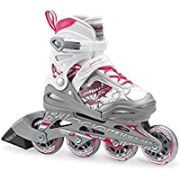 (US size Junior Youth 1 to 4) - Bladerunner by Rollerblade Phoenix Girls Adjustable Fitness Inline Skate, White and Pink, Junior, Value Performance Inline Skates
