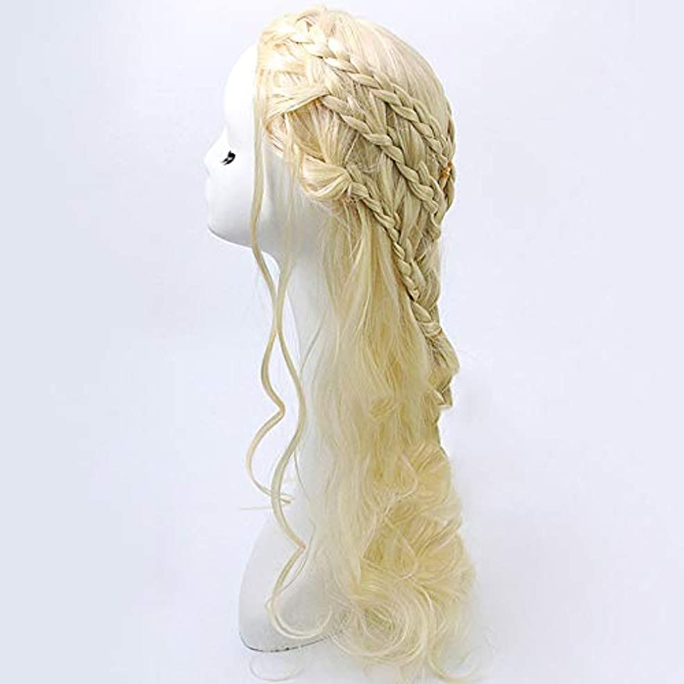 タンク安心させる鍔WASAIO ブロンドのかつらライト前髪自然に見える長い巻き毛のかつら65 cm (色 : Blonde)