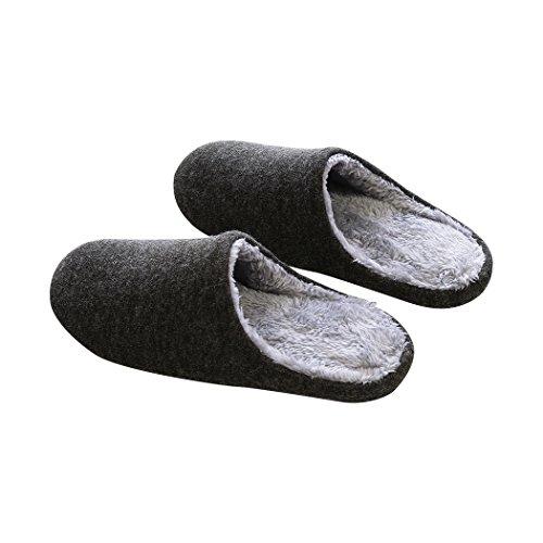 Vinvo メンズ あったか スリッパ ルームシューズ 室内履き専用 冬専用 ぽかぽか (XL(26~27), チャコール)