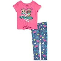 L.O.L. Surprise! Girls Toddler Tie Front T-Shirt and Legging Set Pink/Navy/Yellow 4