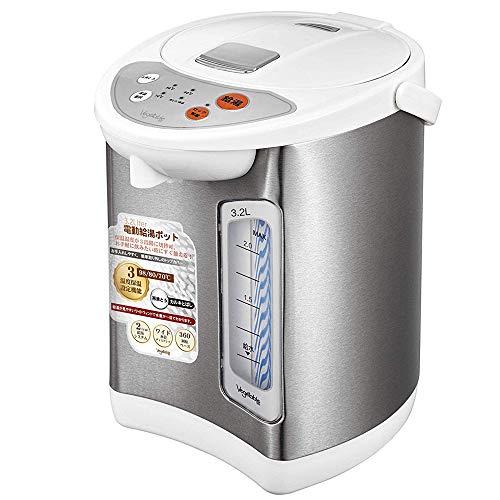 電動給湯ポット 3.2L 電気 ポット 3L 保温 節電 360℃回転 水位表示 ディスプレイ 3段階 保温温度設定 安全設計 カラだき防止 スライドロック エアーポット 【国内メーカー保証期間12ヶ月】 g004