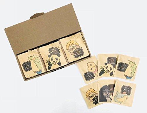 アニマルコーヒー24Pギフトボックス [ブレンド/ブラジル/モカ/グァテマラ/マンデリン/コロンビア 各4袋合計24袋入] ドリップコーヒー