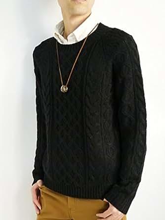 (モノマート) MONO-MART 暖 ふんわり オータム ケーブル編み ニット セーター クルーネック メンズ 秋 冬 ブラック Lサイズ