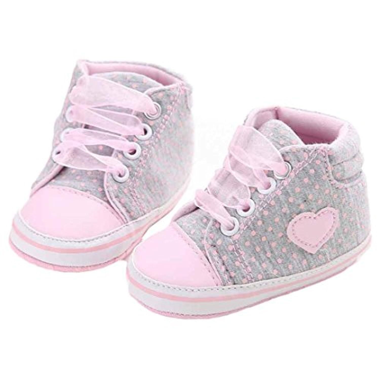 灰色 丸点とハート ベビーシューズ  女の子  ガール キャンバス シューズ スニーカー ベビー 女の子  赤ちゃん  幼児靴  子供靴  3サイズ フラットシューズ/スニーカー キッズ 歩行練習 履き心地いい プレゼント/ ギフト11cm-12cm-13cm(0-18ヶ月) (ラベル-11, 灰色)