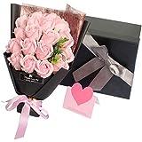 ソープフラワー 枯れない花 造花 花束 バラ 玄関 リビング オフィス インテリア (ピンク)
