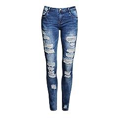 MCUKAY ダメージ スキニージーンズ テーパードデニム レディースファッション パンツ ストレッチ ロング 夏 DN001 Blue L