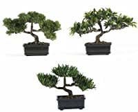 Nearly Natural 4121 Bonsai Decorative Silk Plant Collection Plastic 12-Inch Green [並行輸入品]