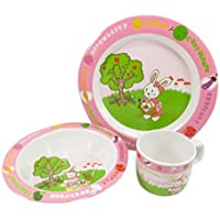 Kids Easter Dinnerware Rabbit Bunny Plate Bowl Cup Melamine Pink Green White (3 Piece Set) [並行輸入品]