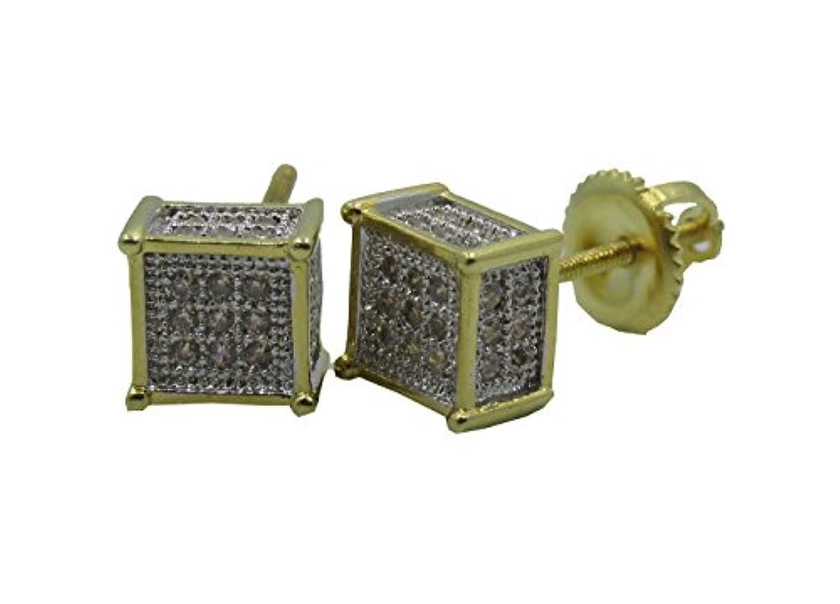 エンコミウム引退したモード2トーン3d Boxedキューブ14 Kゴールドオーバーレイラボ模造ダイヤモンド925ヒップホップイヤリング8 mmメンズねじon Backスタッド