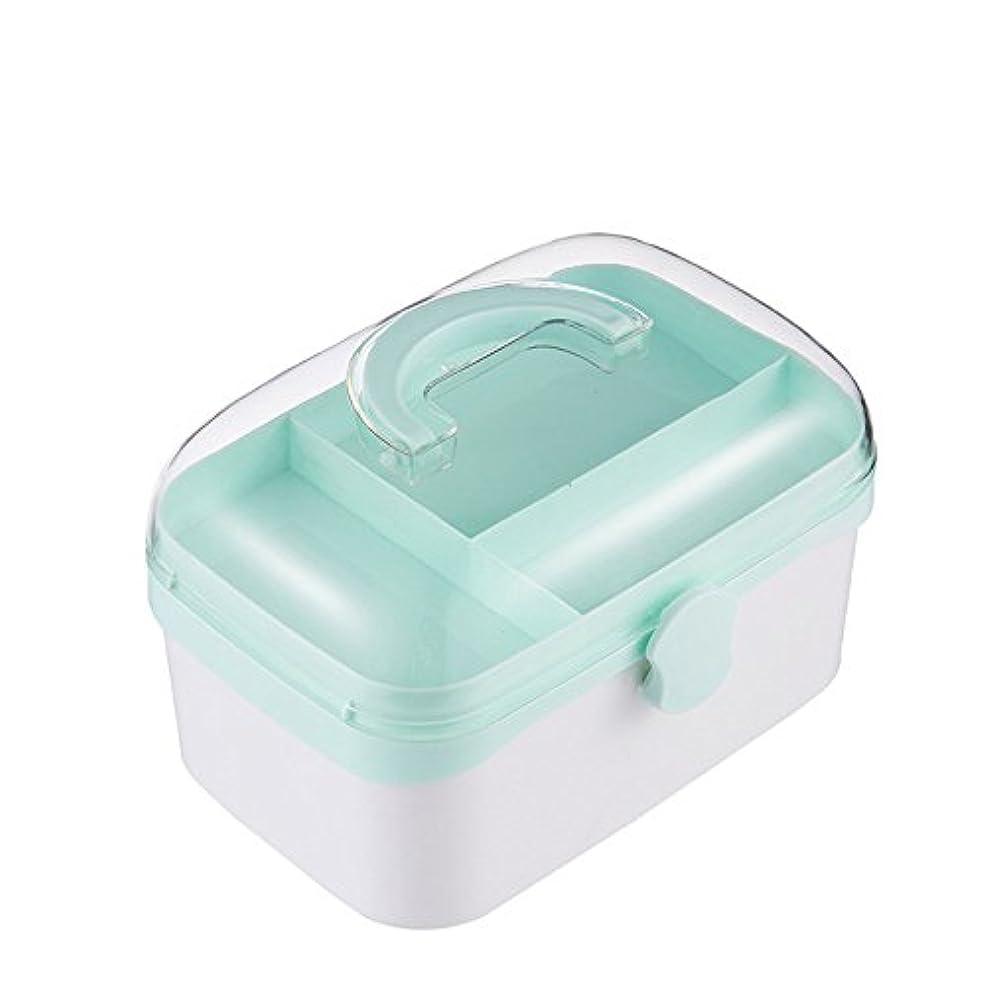 ペインティングビットのみ応急処置キット さまざまな機会のための小さい携帯用救急箱のキットの家の薬の貯蔵容器の多機能の収納箱 ストレージ救急用品 (Color : Blue)