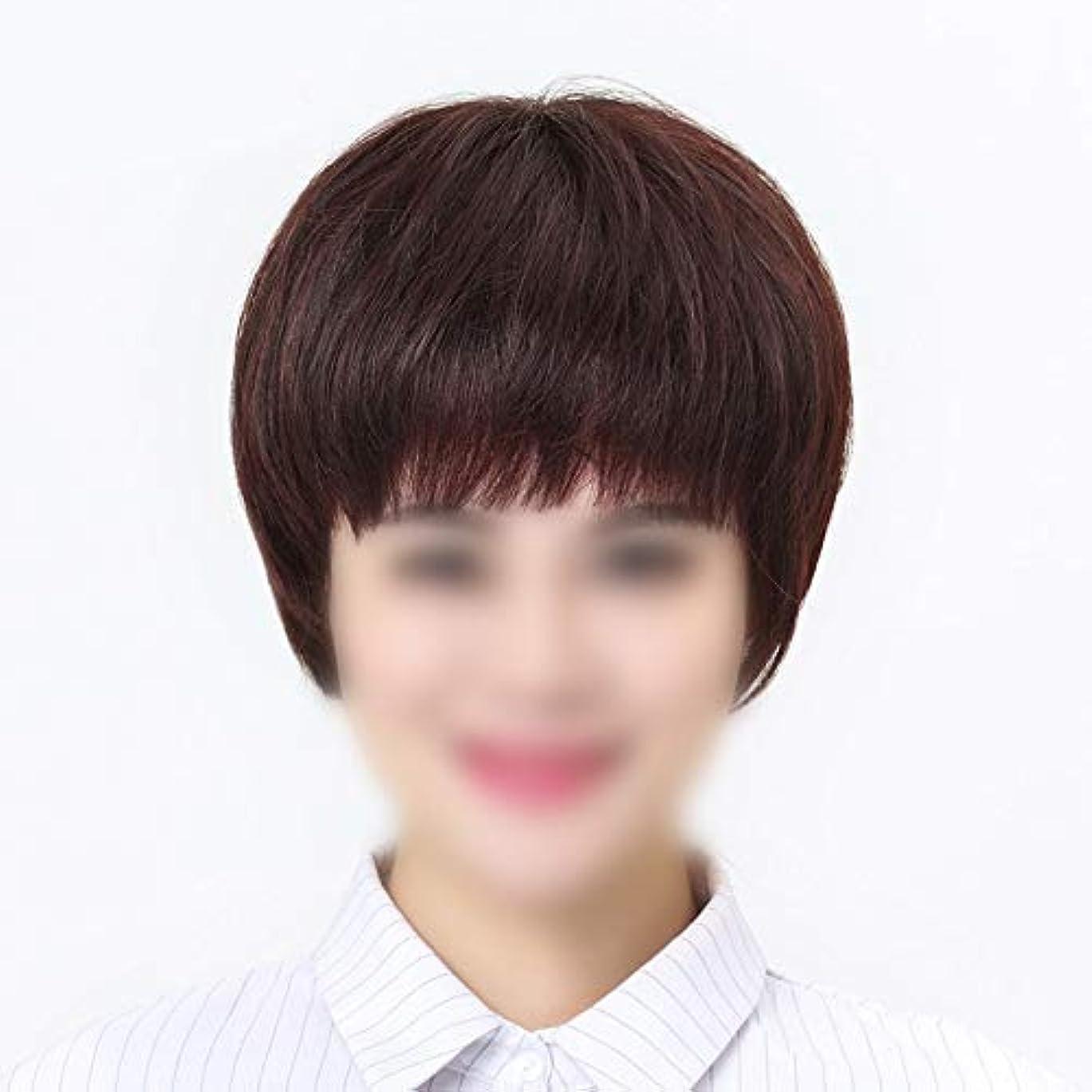 水曜日アブストラクト代替YOUQIU 中年女性ウィッグ用ショートストレートヘアウィッグ女性のための手織りニードルウィッグリアルタイム髪 (色 : Natural black, サイズ : Hand-needle)