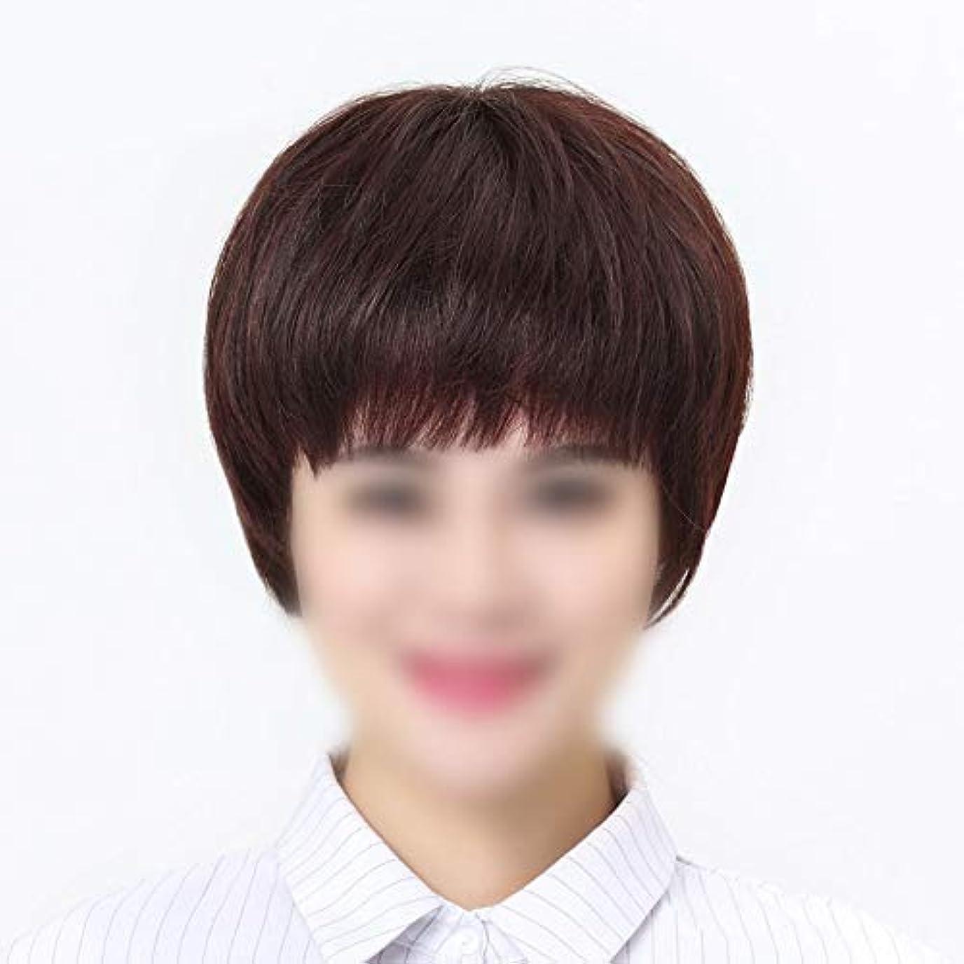眉をひそめるクレタ文房具YOUQIU 中年女性ウィッグ用ショートストレートヘアウィッグ女性のための手織りニードルウィッグリアルタイム髪 (色 : Natural black, サイズ : Mechanism)
