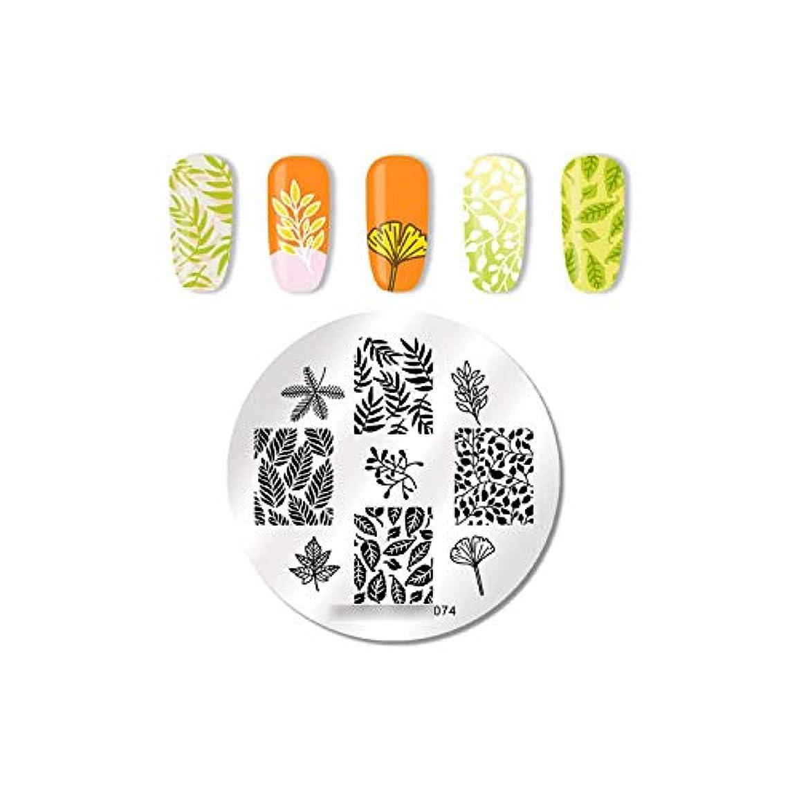 どこにでも通貨不正直長方形ネイルスタンピングプレート花蓮の葉画像ステンレススチールネイルアートテンプレートステンシルDIYデザイン,74