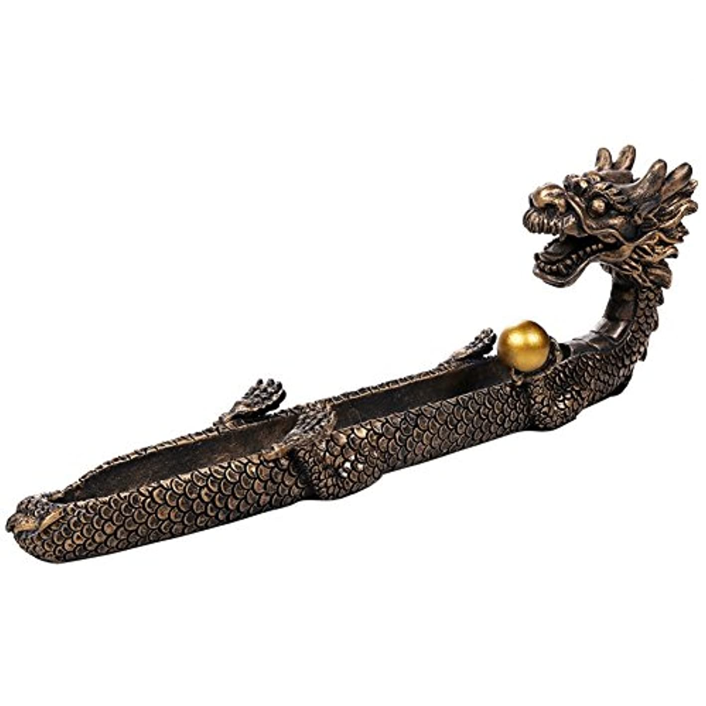 地上のオーナー枯渇Feng Shui Dragon Holding Orb Cast Bronze Stick Incense Burnerホルダー10.25インチL