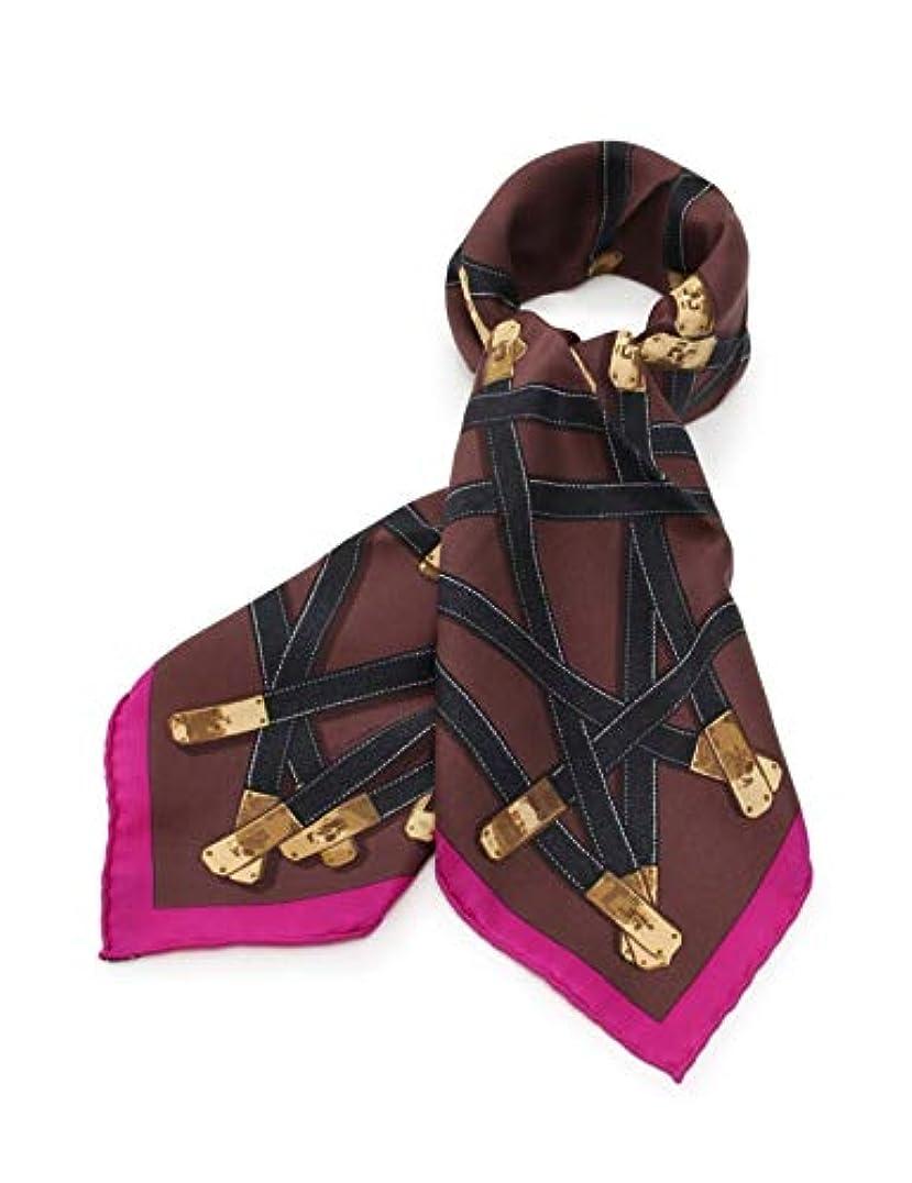 民間顧問かもめ(エルメス) HERMES カレ70 「Tres Kelly」 スカーフ シルク 茶 黒 紫 中古