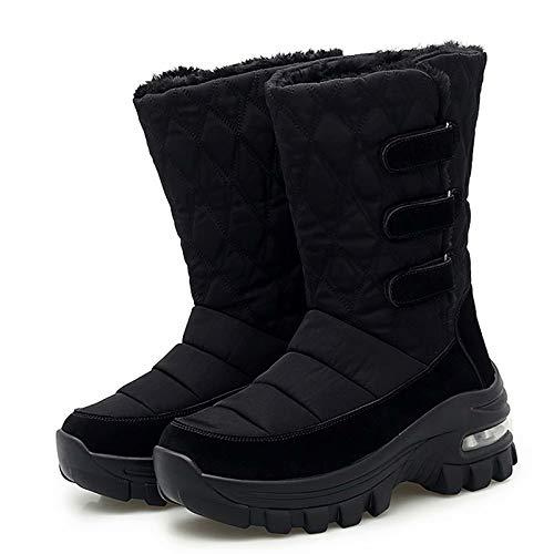 [ZanYeing] 7cm身長up スノーブーツ レディース ダウンブーツ エアクッション 柔らかい レインブーツ 裏起毛 超防寒 雪靴 マジクテープ 防水 防滑 軽量 ロングブーツ キルティング 中綿 長靴 ウインターブーツ