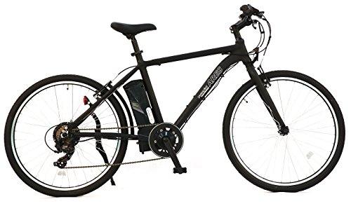 AIJYU CYCLE 電動クロスバイク 軽量アルミフレーム パスピエ ARES(アレス)【ブラック】 シマノ6段ギア 26インチ 電動アシスト自転車 5Ahリチウムイオンバッテリー 型式認定車両(TSマーク)
