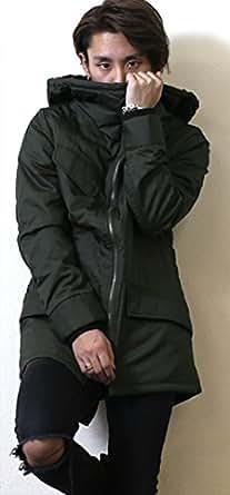 コート メンズ モッズ 2カラー ロング モッズコート フード N-3B ミリタリー 2カラー 黒 緑 ブラック オリーブ 着こなし カジュアル 大きいサイズ OLIVE(緑) Lサイズ