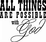 Christian Dior All Things Are Possible Though God Religious Christianインスピレーションビニールデカールsticker|white|cars Trucks SUVノートパソコン壁art|5.5