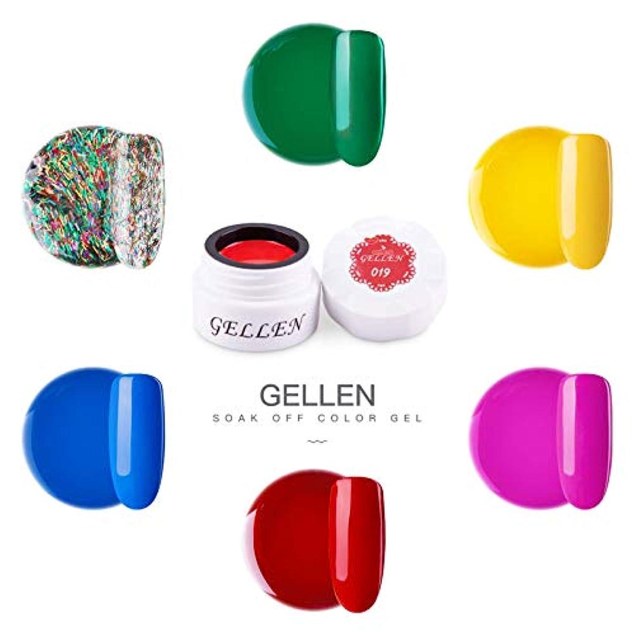 寛解首尾一貫したノートGellen カラージェル 6色 セット[ネオン カラー系]高品質 5g ジェルネイル カラー ネイルブラシ付き