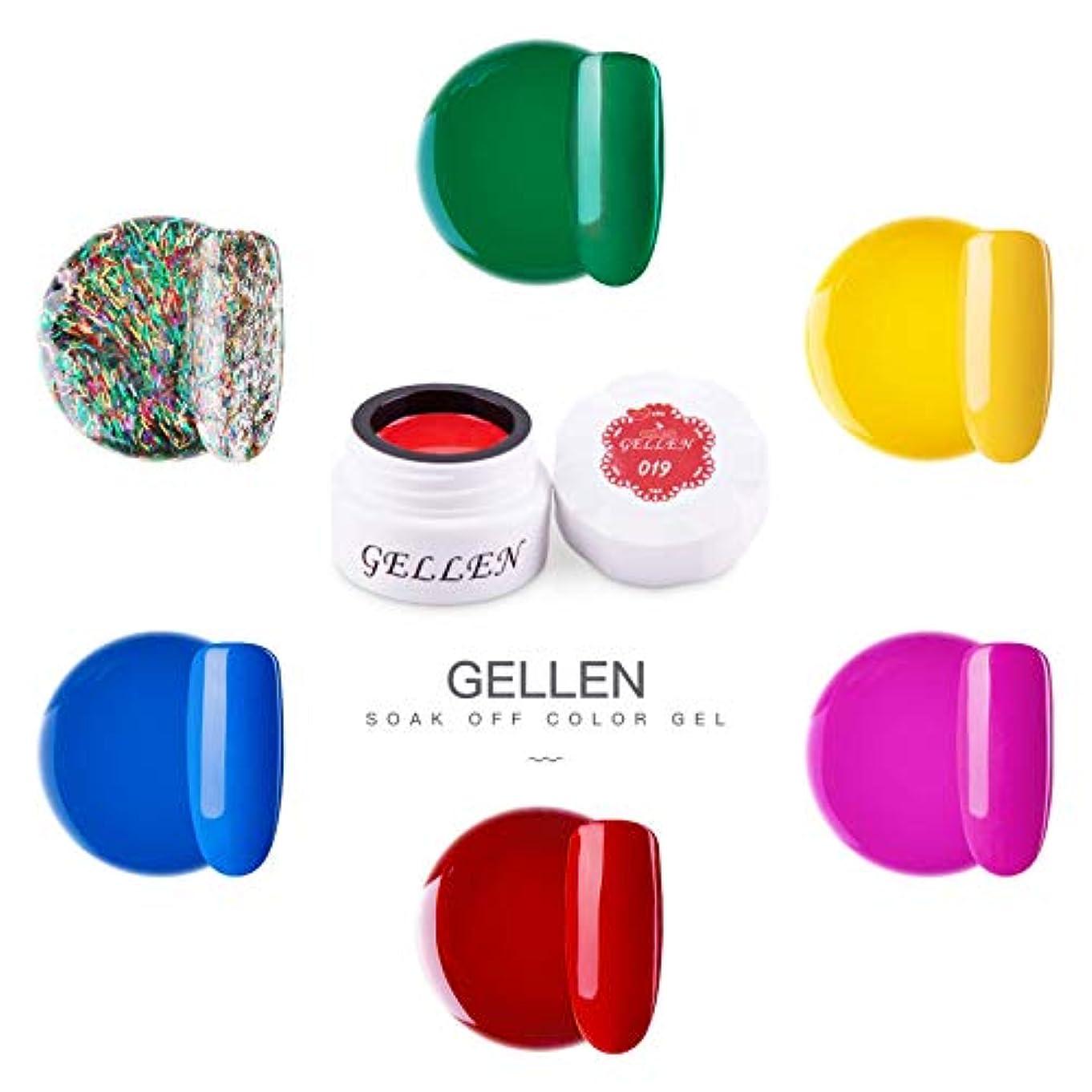 栄光クリケット写真撮影Gellen カラージェル 6色 セット[ネオン カラー系]高品質 5g ジェルネイル カラー ネイルブラシ付き