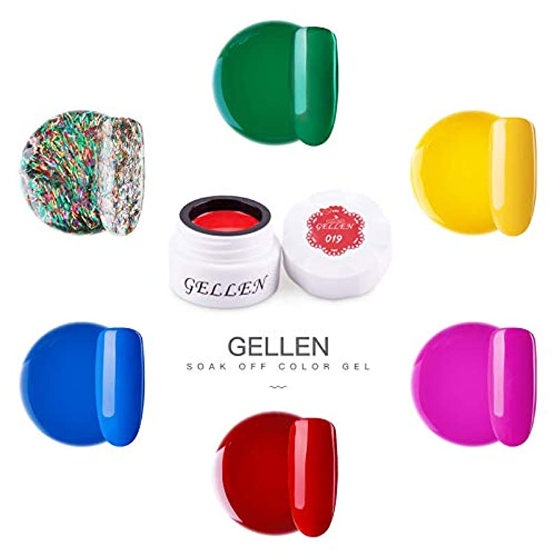 フェードアウト状況冬Gellen カラージェル 6色 セット[ネオン カラー系]高品質 5g ジェルネイル カラー ネイルブラシ付き