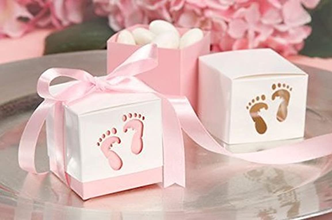 裏切り疑い者文言Pink Baby Shower Box Kit for Baby Girl with Baby Feet Cut Out. Makes 12 Boxes - Includes Pink Satin Ribbon Ties by Unknown [並行輸入品]