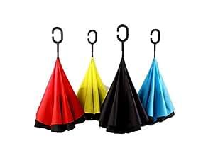 HANBUN 逆折り式傘 長傘 車用傘 耐風 撥水 C型手元 男女 晴雨兼用 C型ハンドル 両手が使える 大きさ選べるレインボー柄 (BLACK)