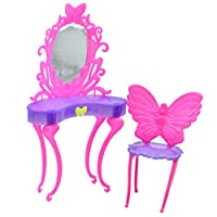 floralbyドールハウス家具ミニドレッサー人形ドレッサー椅子バービーベッドルーム子供のおもちゃコレクション