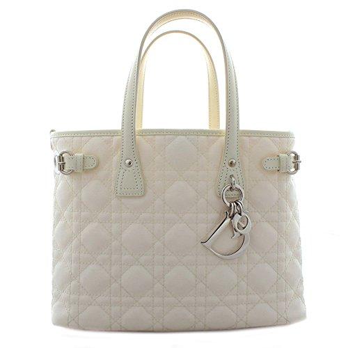 Christian Dior (クリスチャン ディオール) パナレア カナージュ トートバッグ ハンドバッグ 01-RU-0193 アイボリー 白 コーティング キャンバス チャーム レディース (中古) バッグ 美品