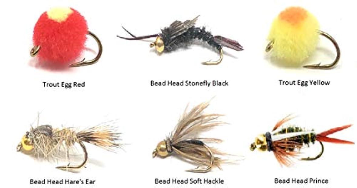 Feeder Creek フライフィッシング アソートメント - 6つのパターンで18個のフライ 様々なサイズ - フライボックスエッグ、プリンス、ヘアの耳、ストーンフライ、ビーズヘッド付きソフトハックル