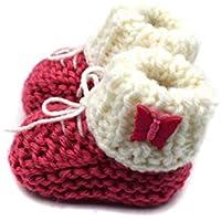 Magic Needles Hand Knit Crochet Turkish Yarn Baby Booties - 4183 Pink/White