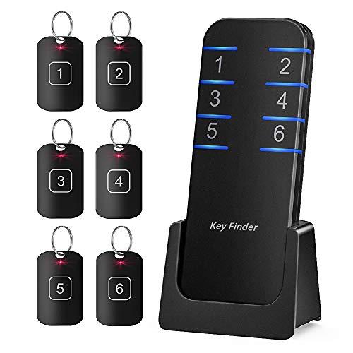 紛失防止タグ スマートタグ キーファインダー –LUXSURE 無線遠隔制御スマートトラッカー,80-95db蜂鳴のような警報音,35mリモコンの範囲、一つの発射器が6つの受信機に適合し、鍵、財布、携帯電話に使用できる (黒)