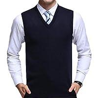 Qiangjinjiu Men's Classic Sleeveless V-Neck Knitting Vest Pullover Sweater Jacket Vest 5 XS