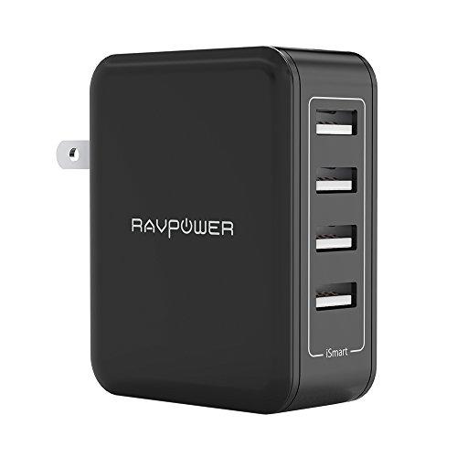 RAVPower USB 充電器 [4ポート/40W/折り畳み式プラグ/急速充電] AC アダプター iPhone/Android その他のUSB機器対応 RP-PC026 ブラック